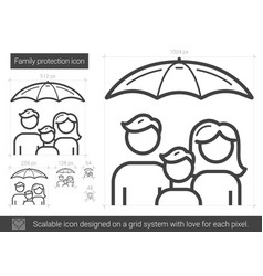 Family protection line icon vector