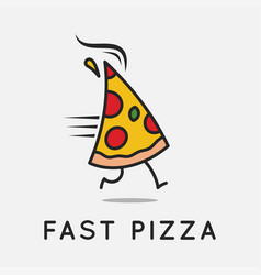 fast pizza logo running pizza slice on background vector image