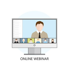 Flat design concept for webinar online learning vector image