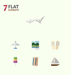 Flat icon summer set of aircraft reminders vector