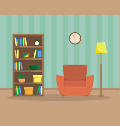flat of cozy reading room vector image