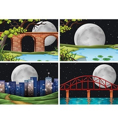 Four scenes of city on fullmoon night vector