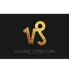 Golden capricorn Golden zodiac sign Capricorn vector