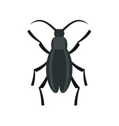Gray beetle icon flat style vector