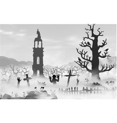 halloween scareful landscape with trees spooky vector image
