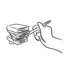 hand holding spoon with books vector image
