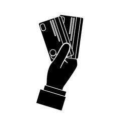 Hand with credit cards vector