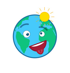 Happy cheeky world globe isolated emoticon vector