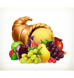 Horn of plenty Harvest fruitsCornucopia 3d icon vector