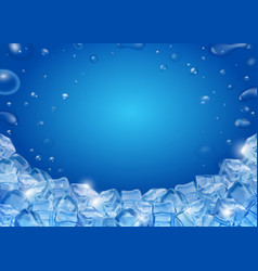 Ice cubes blue background realistic vector