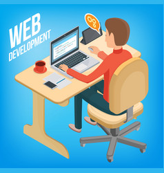 isometric image wed development man sitting at vector image