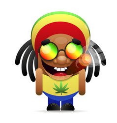 jamaican guy with a cigarett vector image
