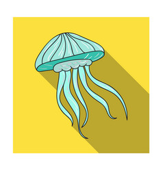 Jelly fish icon in flat style isolated on white vector