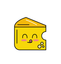 kawaii cute funny cheese food vector image