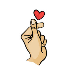 Korean finger heart i love you hangul vector