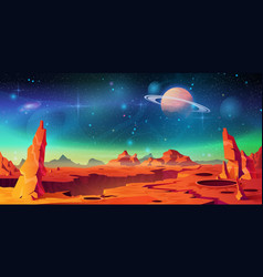 landscape mars planet red dessert with mountains vector image