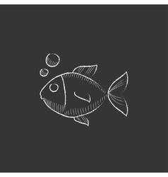 Little fish under water drawn in chalk icon vector