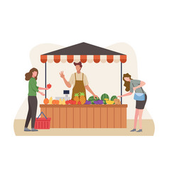 Local market sell vegetables and fruit vector