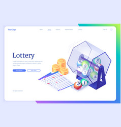 lottery isometric landing page wheel drum machine vector image