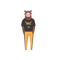 man with bull head fashion animal character vector image