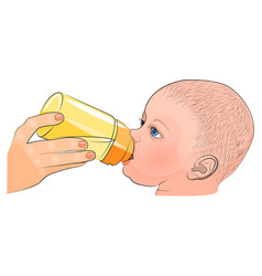Mother and child milk in bottle vector