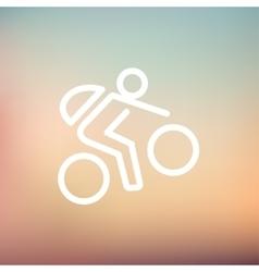Mountain bike rider thin line icon vector image