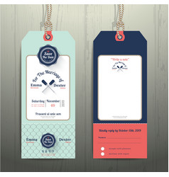 Nautical hanging tag wedding invitation and rsvp vector