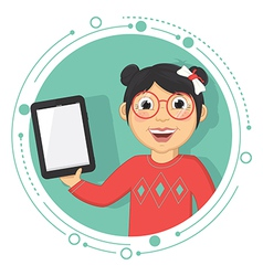 Of A Girl With A Tablet vector