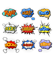 Oh and splash boom and bang comic bubles vector