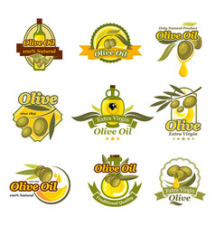 Olive oil product labels set of olives vector