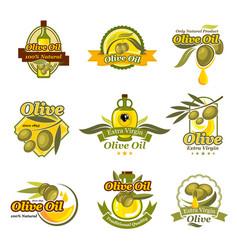 Olive oil product labels set of olives vector
