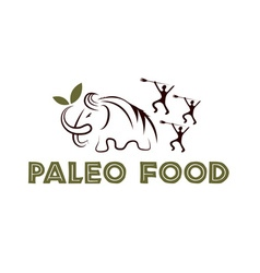 Paleo food with mammoth and cavemans vector