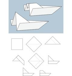 Paper boat origami vector