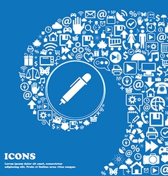 Pen icon sign Nice set of beautiful icons twisted vector