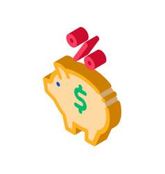 piggy bank pig money isometric icon vector image