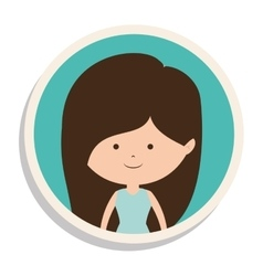 Round frame and girl in dress with brown hair vector