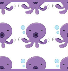 Seamless pattern tile cartoon with octopus vector
