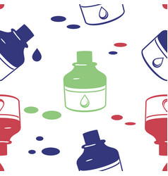 Seamless pattern with ink bottle vector