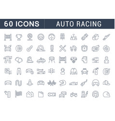 Set line icons auto racing vector