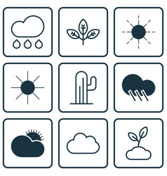 set of 9 world icons includes sun sunshine vector image