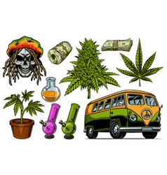set of cannabis objects vector image