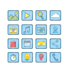 set smartphone technology media icon vector image