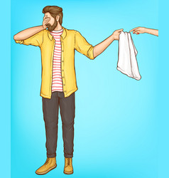 shy man cover eyes with hand giving towel to woman vector image