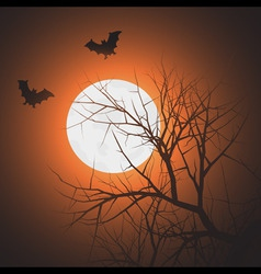 silhouette tree and bats in sky at night ti vector image