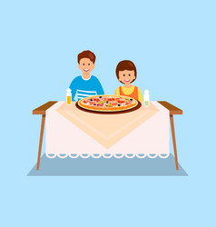 Sister and brother eating dinner flat vector