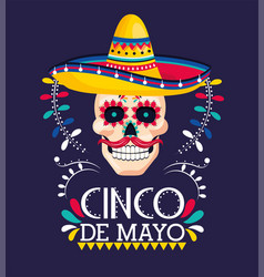 skull decoration with hat to mexican event vector image