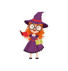 Smart red-haired girl witch reading books and vector