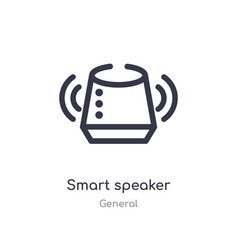 Smart speaker outline icon isolated line from vector