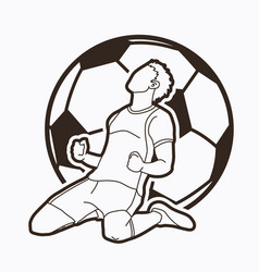 soccer player the winner action outline vector image