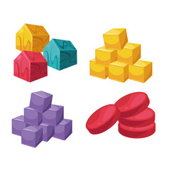 square and circle shape colorful object set on vector image